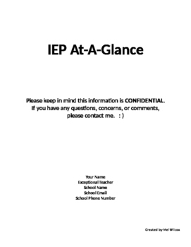 IEP  At-A-Glance Cover Page
