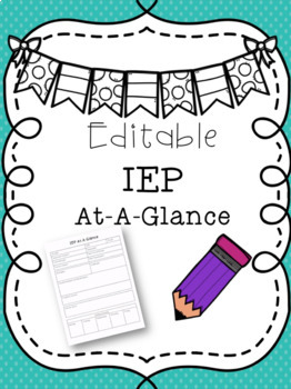 IEP At A Glance EDITABLE and Google Drive Version!