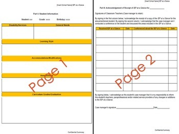 Editable: IEP At a Glance with Teacher Accountability Sign Off Sheet