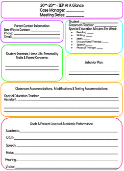 IEP At A Glance and Recommendation Sheets