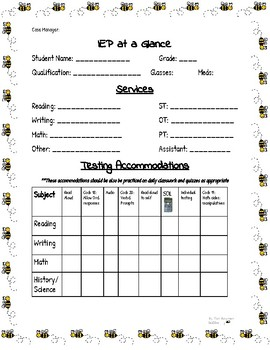 IEP At a Glance--Back to School