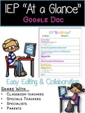 "IEP ""At a Glance"" Google Doc"