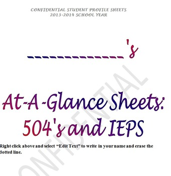 IEP At a Glance sheets... too good not to use!