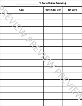 IEP Benchmark/Goal Tracking Forms and Sheets