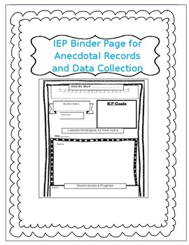 IEP Binder Sheet for Data Collection and Progress Monitoring