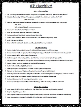 IEP CHECKLIST - EDITABLE by Teaching Special Thinkers - Gabrielle ...