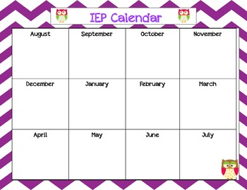 IEP Calendar with Owls in Polka dots and Chevron