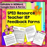 Resource Teacher Editable Input Forms -For IEP Case Managers, SLPs, Special Ed