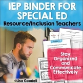 Special Education Organization IEP Binder - EDITABLE - For Resource/Inclusion