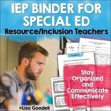 Special Education Organization IEP Binder Bundle EDITABLE Resource/Inclusion