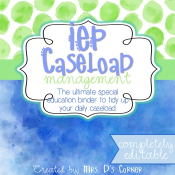 The Ultimate Special Education Binder - Blue Watercolor {editable} IEP Binder