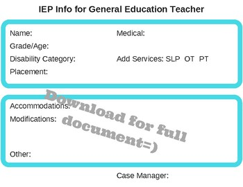 IEP Caseload Organizer- Back to School Special