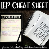 IEP Cheat Sheet print and go OR digital use!