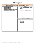 IEP Cheat Sheet or snapshot to fill out for classroom teachers