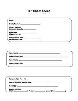 IEP Cheat Sheet - very useful