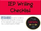 IEP Writing Checklist (Editable)