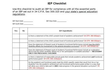 IEP Compliance Checklist Correlated to IDEA Regulations