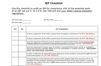 IEP Compliance Checklist Correlated to IDEA Regulations
