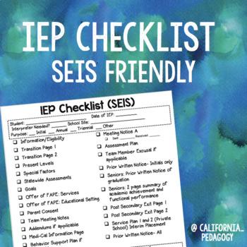 IEP Checklist (SEIS)