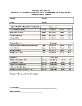 IEP Classroom Teacher Report