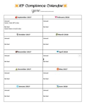IEP Compliance Calendar/Dates