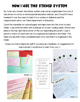 IEP & Confidential Folder Checklist