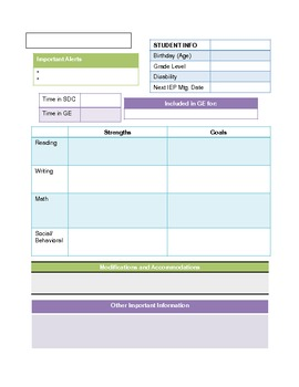 IEP Cover Sheet for GE