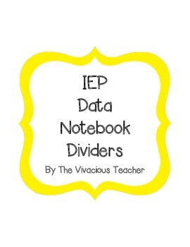 IEP Data Binder Cover and Dividers