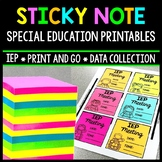 IEP Data - Special Education - Sticky Note Printables - Data Sheets