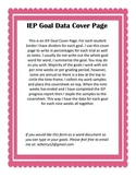 IEP Goal Cover Page Data Tracker
