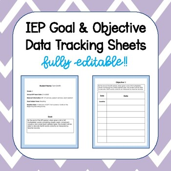 IEP Data Tracking - Goals & Objectives - Editable