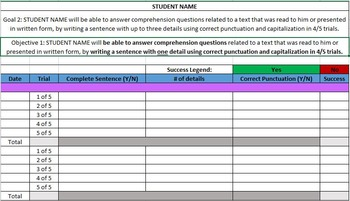 IEP Data Tracking Spreadsheets (Writing - Comprehensioon Questions)