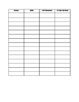 IEP Date Chart
