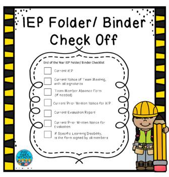 IEP Folder/ Binder CheckOff
