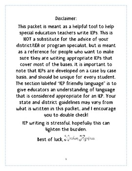 IEP writing-IEP Friendly Language