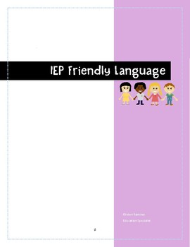 IEP writing-IEP Friendly Language
