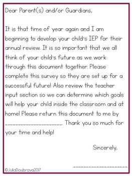 IEP Future Planning Collaborative Document for Parents and Teachers *Freebie*