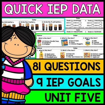 IEP Goal Assessments - PRINT & GO - Special Education - Life Skills - Unit 5