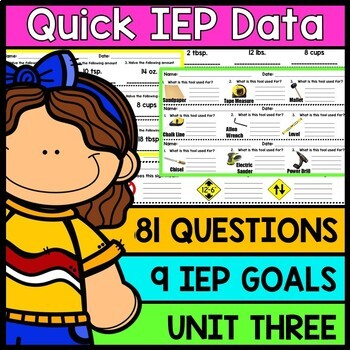 IEP Goal Assessments - PRINT & GO - Special Education - Life Skills - Unit 3