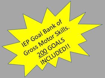 IEP Goal Bank of Gross Motor Skills.  200 Goals!