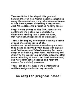 IEP Goal & Benchmarks for Non-Fiction Reading Comprehension Using the DRA2