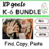 IEP Goal Bundle Kinder to Sixth; reading, writing, math