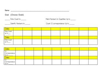 IEP Goal Counting 1-20 Data Sheet