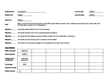 IEP Goal Data Sheet