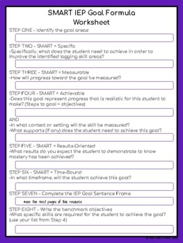 Writing Special Education IEP Goal Formula Template & Directions