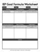 IEP Goal Formula Worksheet