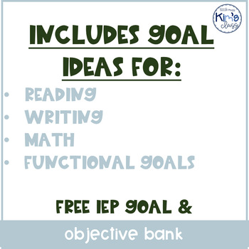 How To Write Iep Goals Guide For >> Iep Goal Objective Bank For Special Ed Moderate Severe Tpt