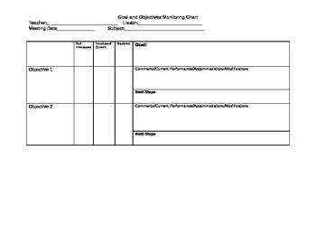 IEP Goal/Objective Monitoring Sheet
