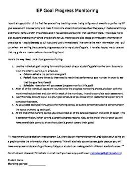 IEP Goal Progress Monintoring Packet - Fool proof way to monintor goals!