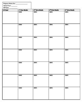 IEP Goal Progress Note Data Sheet